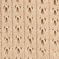 Women: New Directions Sweaters: Desert Tan New Directions Pointelle Crochet Hem Sweater