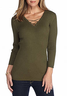 New Directions Ribbed Lace Up Sweater