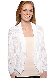 New Directions Slub Pointelle Peplum Cardigan