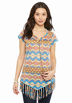 New Directions Petite Printed Fringe Top