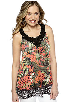 New Directions V Neck Macrame Trim Tank