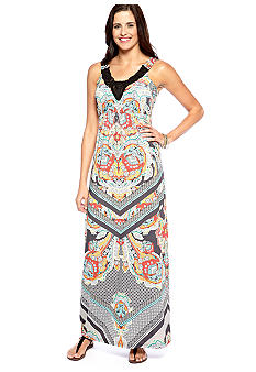 New Directions Printed Dress with Macrame Detail