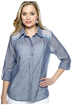 New Directions Chambray Woven Top