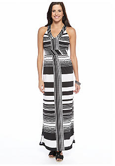 New Directions Low V Neck Stripe Print Maxi Dress
