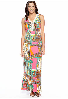 New Directions Macrame Trim Maxi Dress