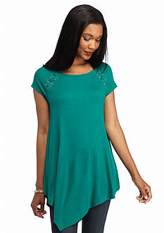 New Directions Pointed Hem Grommet Top