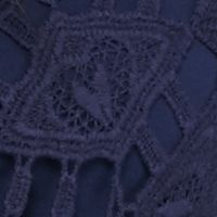 Women: New Directions Tops: Summer Navy New Directions All Over Lace Tie Front Top