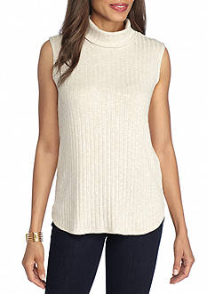 New Directions Ribbed Spacedye Mock Neck Top