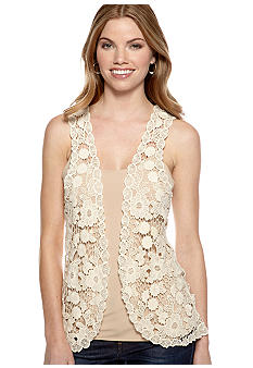 New Directions Petite Long Floral Crochet Vest