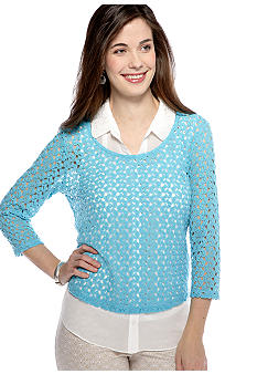 New Directions Petite Three Quarter Sleeve Crochet Top