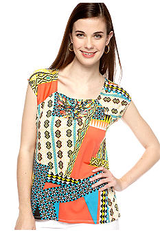 New Directions Petite Cap Sleeve Macrame Top