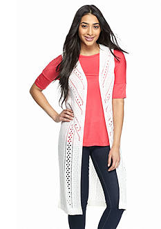 New Directions Long Pointelle Vest