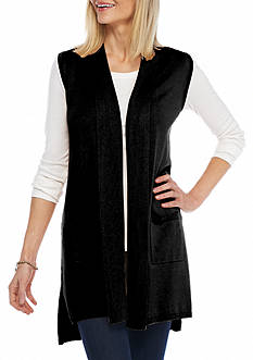 New Directions Solid Two Pocket Vest