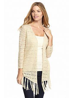 New Directions Drape Front Crochet Fringe Cardigan