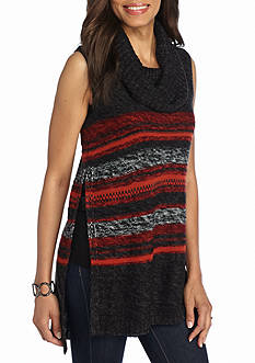 New Directions Stripe Cowl Neck Sweater