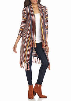 New Directions Multi Stripe Long Fringe Cardigan
