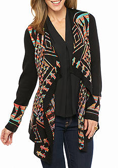 New Directions Multi Color Drape Front Cardigan