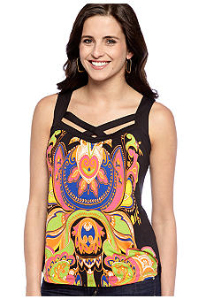 New Directions Petite Criss Cross Printed Tank
