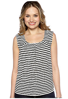New Directions Petite Striped Sleeveless Top
