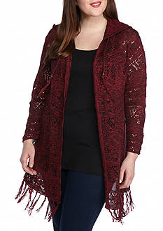 New Directions Plus Size Hooded Fringe Cardigan
