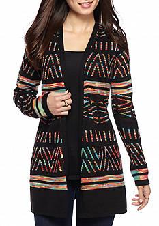New Directions Petite Rainbow Aztec Printed Cardigan