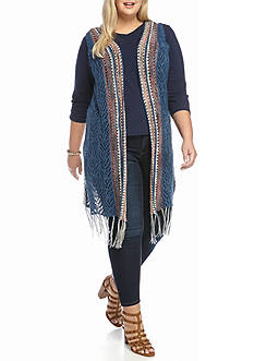 New Directions 08-Vest Long Fringe Casual Sweater