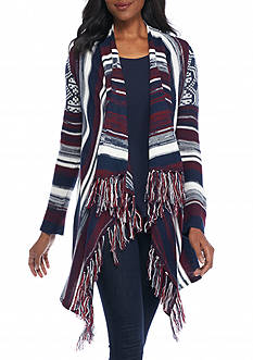 New Directions Geo Striped Fringe Cardigan