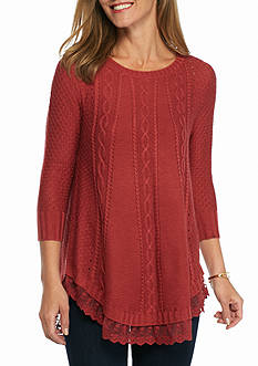 New Directions Lace Hem Cable Knit Sweater
