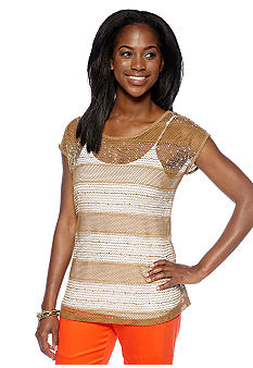 New Directions Petite Open Weave Top