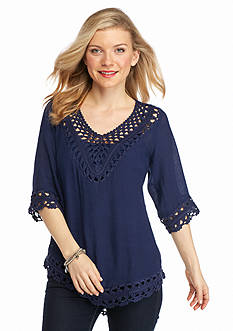 New Directions Petite Crochet Trim Double Woven Top