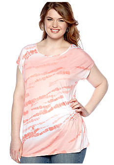 New Directions Plus Size Tie-Dye Top
