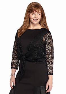 New Directions Plus Size Tie Front Crochet Top