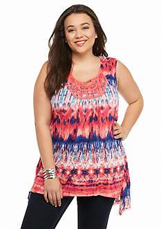 New Directions Plus Size Crochet Bib Tie-Dye Top
