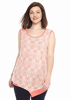 New Directions Plus Size Lace Overlay Tank