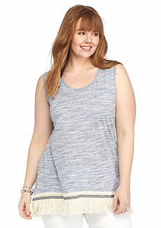 New Directions Plus Size Space Dye Fringe Tank
