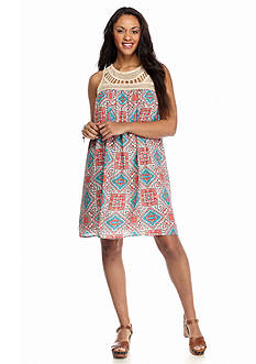 Speechless Plus Size Crochet Yoke Print Dress