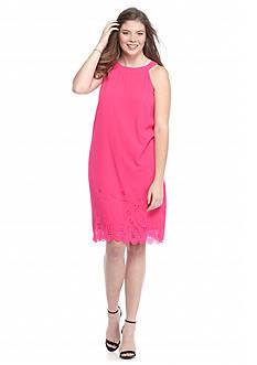 Speechless Plus Size Laser Cut Scallop Hem Dress