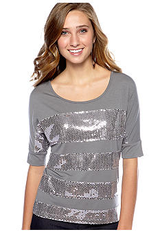 Speechless Keyhole Back Sequin Stripe