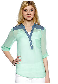 Speechless Chambray Trim Sheer Shirt
