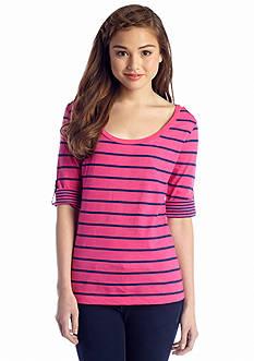 Red Camel® Stripe Button Shoulder Knit Tee