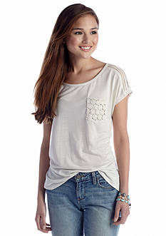 Red Camel® Crochet Shoulder Pocket Tee
