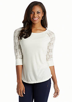 Red Camel® Lace Sleeve Raglan Top