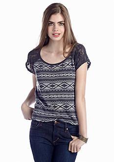 Red Camel® Tribal Lace Sleeve Sweatshirt Top