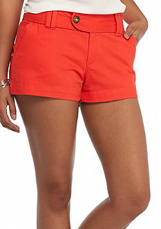 Red Camel Solid Twill Tab Shorts