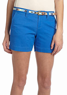 Red Camel Belted Twill Shorts