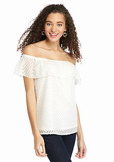 Red Camel Ruffle Off the Shoulder Top