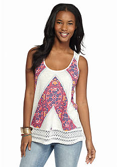 Red Camel Printed Crochet Back Tank