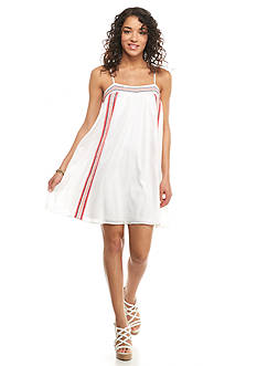 Red Camel Embroidered Panel Slip Dress