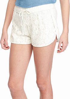 Red Camel Lace Overlay Gauze Shorts
