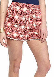 Red Camel Printed Crochet Trim Soft Shorts
